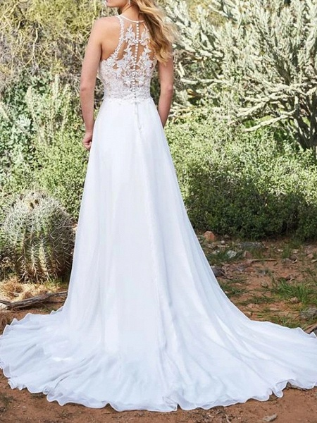 A-Line Wedding Dresses V Neck Sweep \ Brush Train Polyester Sleeveless Vintage Plus Size_2