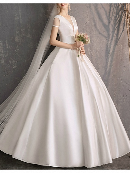 Ball Gown Wedding Dresses Jewel Neck Floor Length Satin Tulle Short Sleeve Simple Plus Size Elegant_4