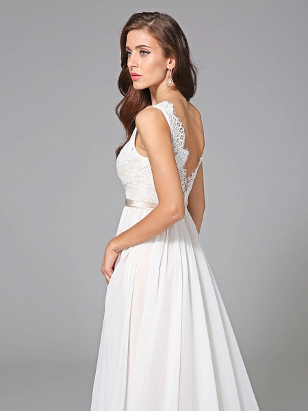 A-Line Wedding Dresses V Neck Court Train Chiffon Lace Regular Straps Romantic See-Through Plus Size Backless_8