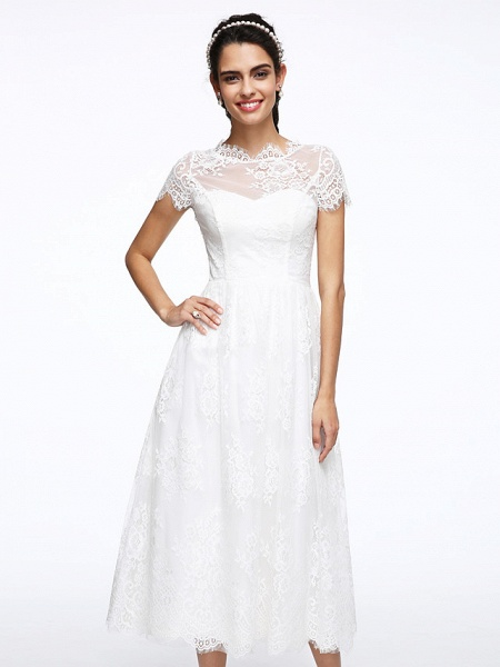 A-Line Wedding Dresses Jewel Neck Tea Length Lace Short Sleeve Simple Casual Illusion Detail Backless_7
