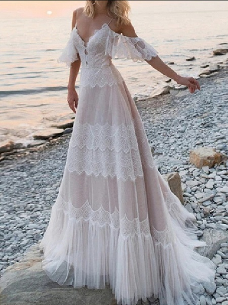 A-Line Wedding Dresses V Neck Spaghetti Strap Sweep \ Brush Train Lace Tulle Half Sleeve Beach Sexy Plus Size_2