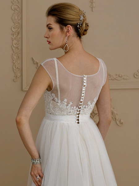 A-Line Wedding Dresses Jewel Neck Sweep \ Brush Train Beaded Lace Cap Sleeve Romantic Plus Size Backless_5