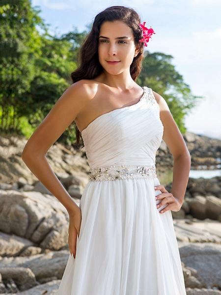 A-Line Wedding Dresses One Shoulder Court Train Chiffon Regular Straps Beach Sparkle & Shine_3