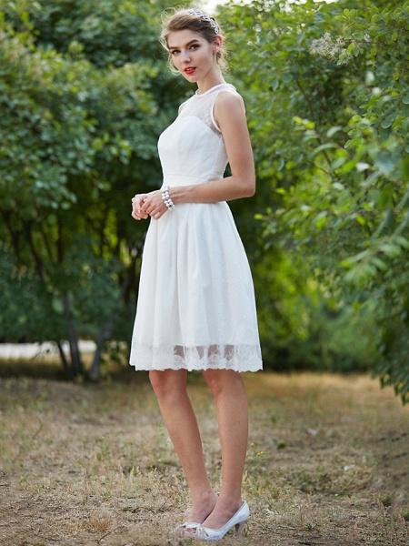 A-Line Wedding Dresses Jewel Neck Knee Length Lace Sleeveless Little White Dress_3