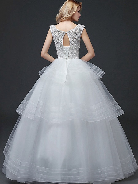 Ball Gown Wedding Dresses Scoop Neck Floor Length Lace Tulle Polyester Cap Sleeve Romantic_4