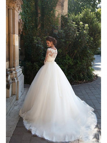 A-Line Wedding Dresses Off Shoulder Court Train Lace 3\4 Length Sleeve Casual Beach Vintage Illusion Sleeve_2