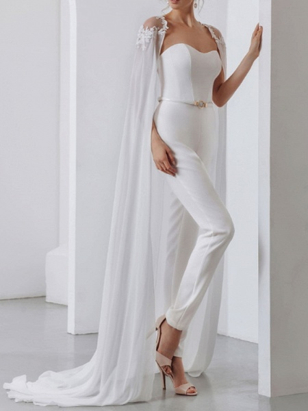 Two Piece Jumpsuits Wedding Dresses Strapless Sweep \ Brush Train Lace Stretch Satin Short Sleeve Country Plus Size_5