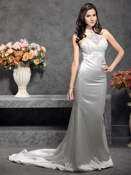 Mermaid \ Trumpet Wedding Dresses Halter Neck Court Train Stretch Satin Sleeveless_3