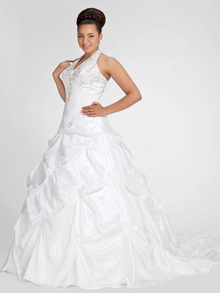Ball Gown V Neck Court Train Taffeta Regular Straps Glamorous Vintage Plus Size Backless Wedding Dresses_8