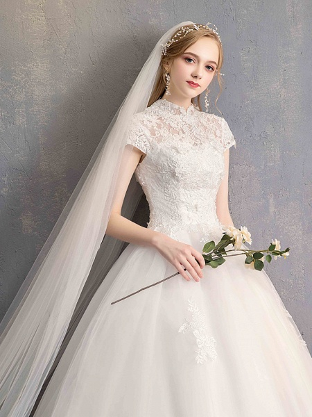 Ball Gown Wedding Dresses High Neck Floor Length Lace Tulle Lace Over Satin Short Sleeve Vintage Illusion Sleeve_3