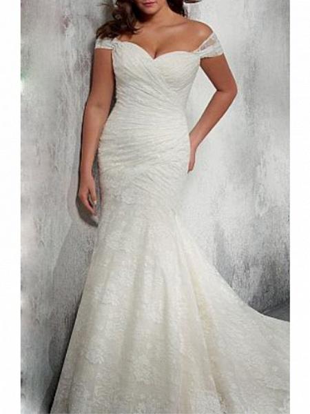 Mermaid \ Trumpet Wedding Dresses Off Shoulder Court Train Chiffon Lace Cap Sleeve_1