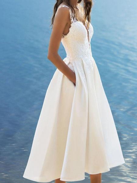 A-Line Wedding Dresses V Neck Ankle Length Lace Satin Sleeveless Vintage 1950s_2