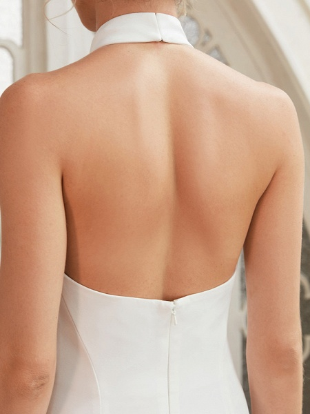Sheath \ Column Wedding Dresses Halter Neck Court Train Chiffon Satin Regular Straps Simple Backless Elegant_10