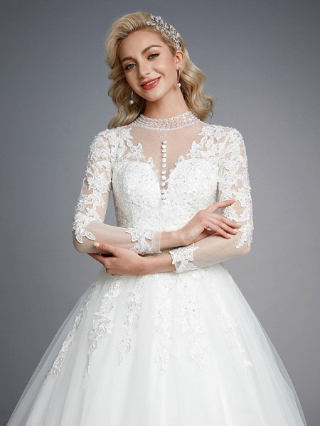 Ball Gown High Neck Court Train Lace Tulle Long Sleeve Romantic Plus Size Illusion Sleeve Wedding Dresses_10