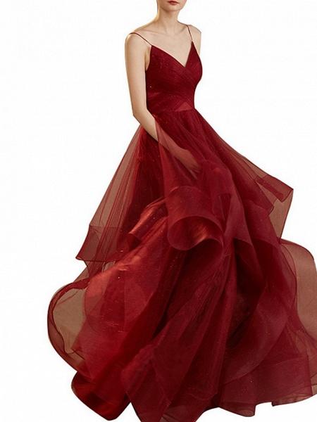 A-Line Wedding Dresses V Neck Floor Length Tulle Sleeveless Romantic Plus Size Red_1