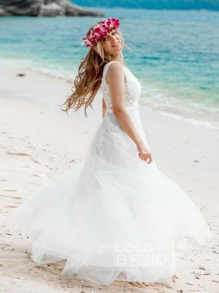 Elegant Champagne Appliques A-line Lace Wedding Dress_4