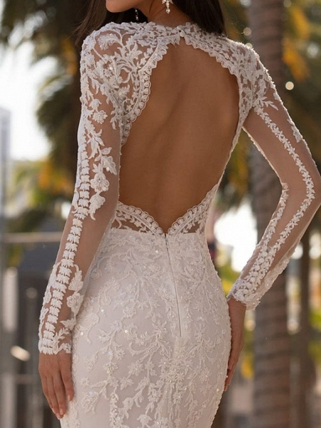 Mermaid \ Trumpet Jewel Neck Court Train Lace Stretch Satin Sleeveless Formal Illusion Sleeve Wedding Dresses_3
