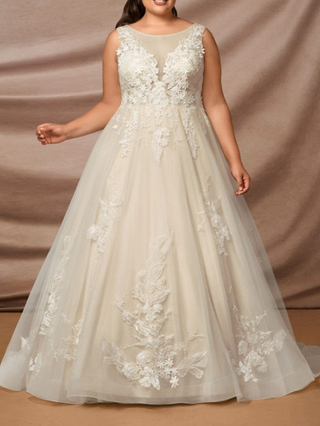Mermaid \ Trumpet Jewel Neck Chapel Train Lace Sleeveless Formal Wedding Dresses_7