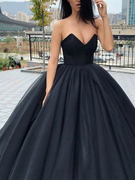 Ball Gown Wedding Dresses Strapless V Neck Floor Length Tulle Polyester Strapless Sexy Plus Size_1