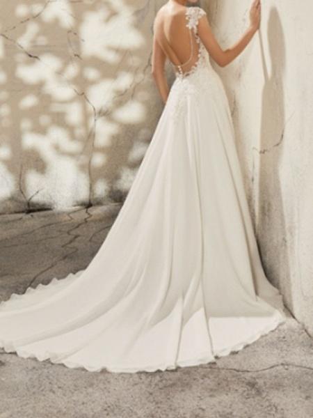 A-Line Wedding Dresses V Neck Court Train Lace Cap Sleeve Simple Plus Size_2