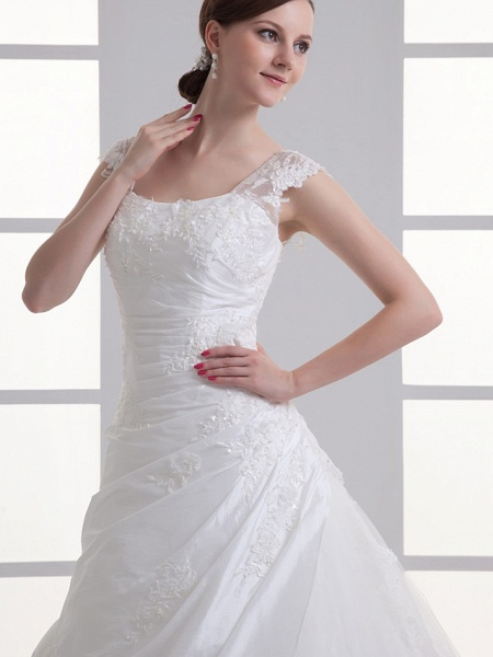 A-Line Square Neck Court Train Taffeta Tulle Regular Straps Wedding Dresses_4
