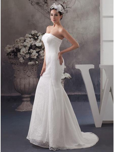 Mermaid \ Trumpet Wedding Dresses Strapless Court Train Lace Satin Strapless_2