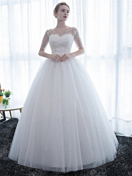 Ball Gown Wedding Dresses Scoop Neck Floor Length Satin Lace Over Tulle Half Sleeve Simple Backless_1