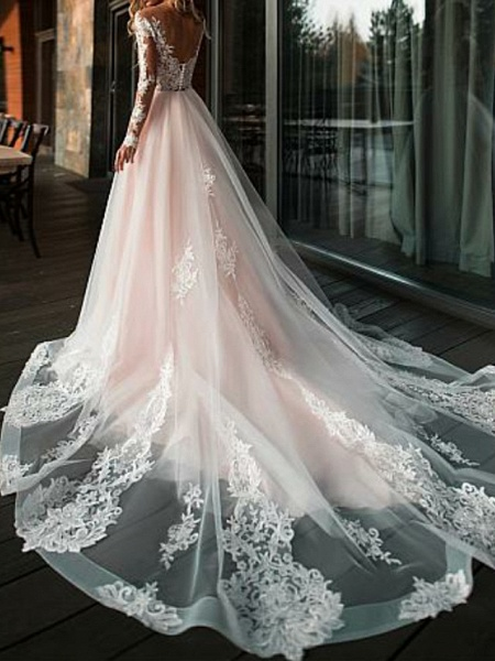 A-Line V Neck Court Train Tulle Long Sleeve Romantic Boho See-Through Illusion Sleeve Wedding Dresses_2