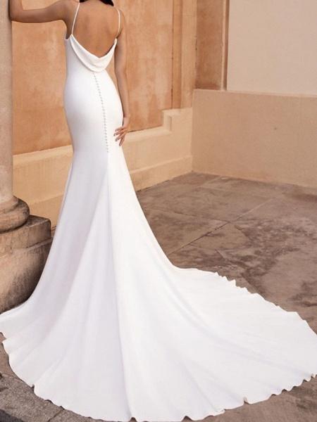 Mermaid \ Trumpet Wedding Dresses Spaghetti Strap Sweep \ Brush Train Stretch Satin Sleeveless Simple Backless_2