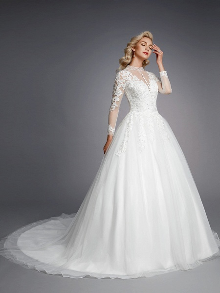 Ball Gown High Neck Court Train Lace Tulle Long Sleeve Romantic Plus Size Illusion Sleeve Wedding Dresses_6