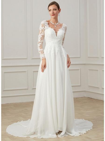 Sheath \ Column Wedding Dresses V Neck Sweep \ Brush Train Lace Tulle Long Sleeve Formal Plus Size Illusion Sleeve_2