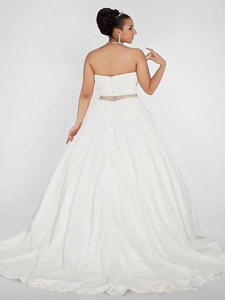 Ball Gown Wedding Dresses Sweetheart Neckline Court Train Chiffon Strapless Simple Vintage Plus Size Backless Cute_4