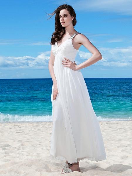 A-Line Wedding Dresses V Neck Floor Length Chiffon Regular Straps Casual Beach Backless_4