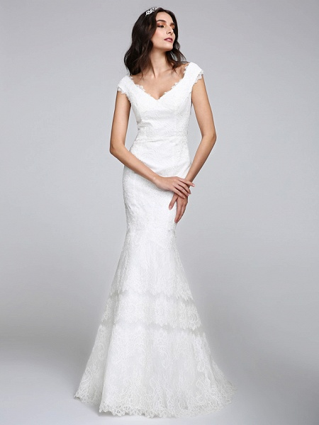 Mermaid \ Trumpet Wedding Dresses V Neck Floor Length All Over Lace Cap Sleeve Romantic Sexy Illusion Detail Backless_4