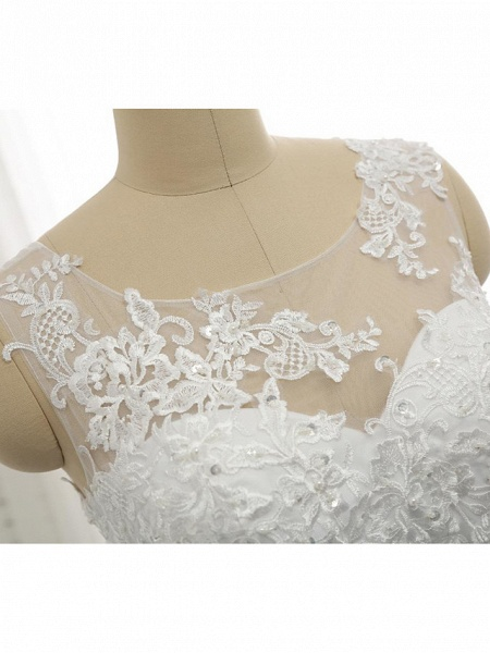 A-Line Wedding Dresses Scoop Neck Court Train Lace Tulle Lace Over Satin Regular Straps Romantic See-Through_10