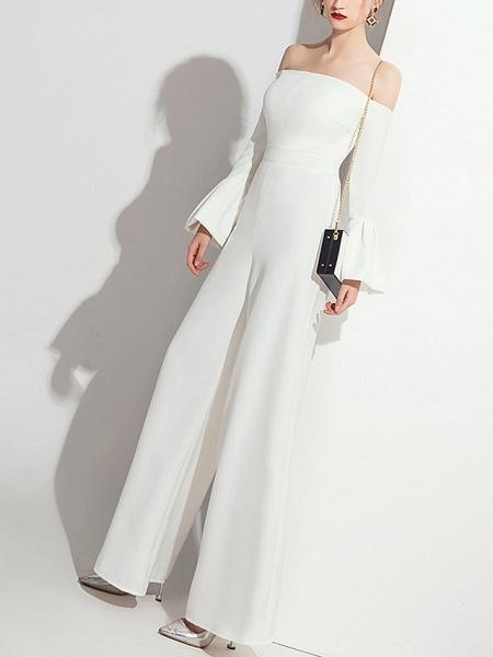 Jumpsuits Wedding Dresses Off Shoulder Floor Length Polyester Long Sleeve Formal Simple_2