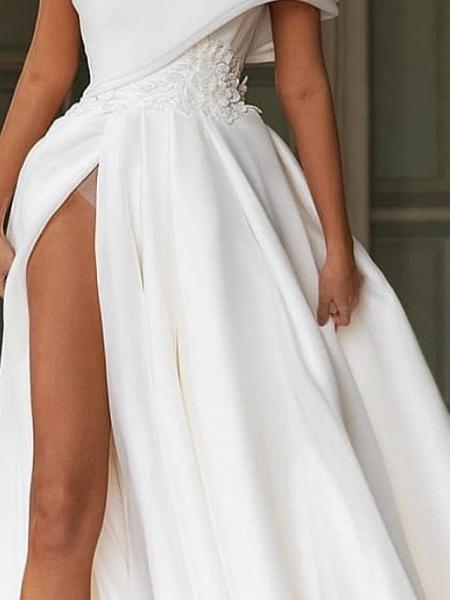 A-Line One Shoulder Sweep \ Brush Train Chiffon Over Satin Short Sleeve Simple Modern Wedding Dresses_3
