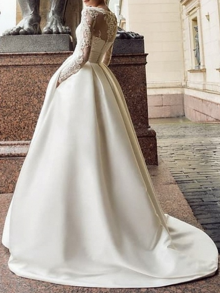 Ball Gown Wedding Dresses Jewel Neck Sweep \ Brush Train Lace Satin Long Sleeve Romantic See-Through_2