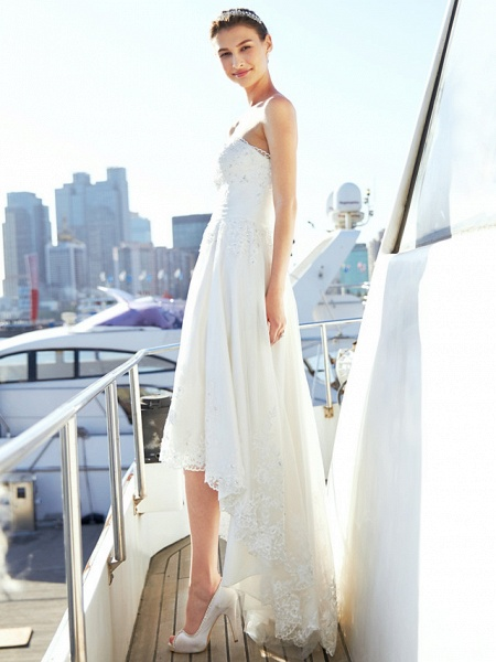 A-Line Wedding Dresses Strapless Asymmetrical Tulle Strapless Casual Beach Little White Dress Backless_9
