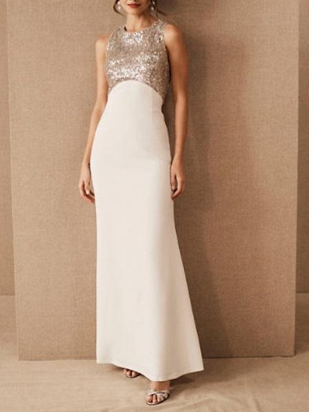 Sheath \ Column Wedding Dresses Jewel Neck Floor Length Satin Sequined Regular Straps Romantic Plus Size_1