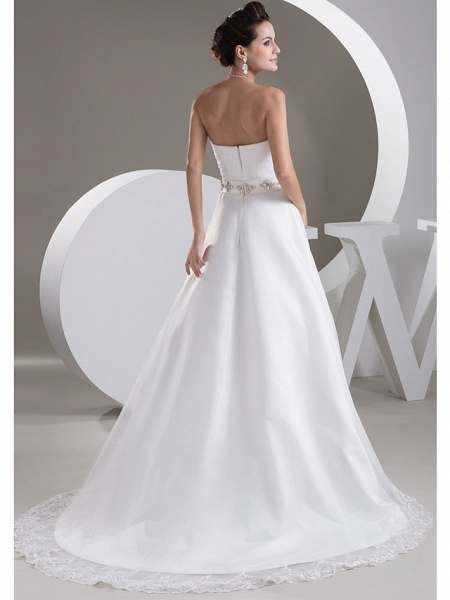 A-Line Sweetheart Neckline Court Train Lace Satin Tulle Strapless Wedding Dresses_3