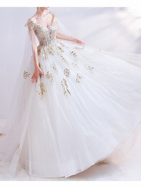 Ball Gown Wedding Dresses V Neck Court Train Chiffon Tulle Cap Sleeve Formal Illusion Detail Plus Size_3