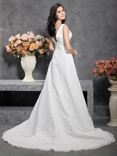 Princess A-Line Wedding Dresses Straps V Neck Court Train Chiffon Sleeveless_5
