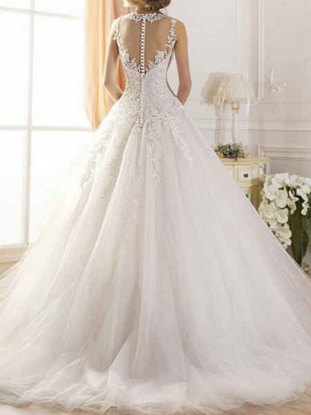 A-Line Wedding Dresses Jewel Neck Sweep \ Brush Train Tulle Regular Straps Glamorous See-Through Illusion Detail Backless_2