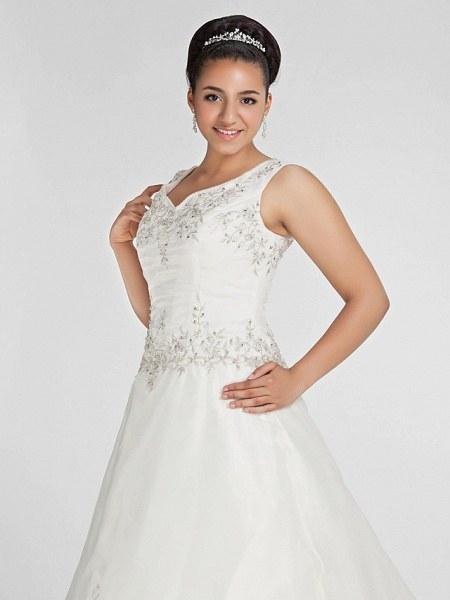 Ball Gown V Neck Court Train Organza Beaded Lace Regular Straps Formal Plus Size Wedding Dresses_6