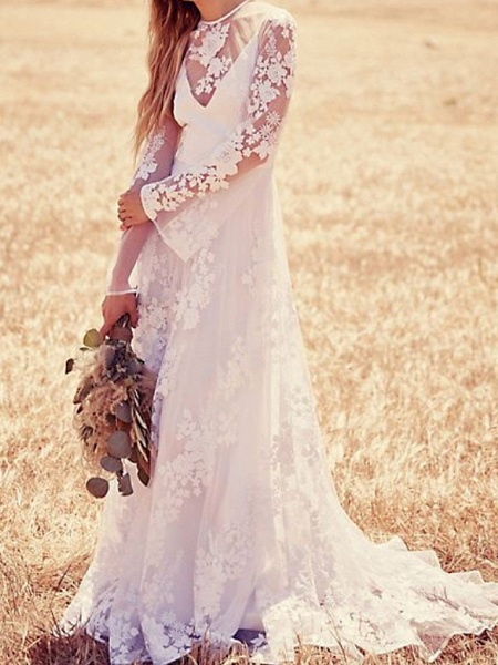 A-Line Jewel Neck Sweep \ Brush Train Lace Long Sleeve Beach Illusion Sleeve Wedding Dresses_1