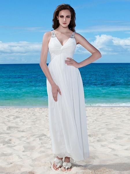 A-Line Wedding Dresses V Neck Floor Length Chiffon Regular Straps Casual Beach Backless_1
