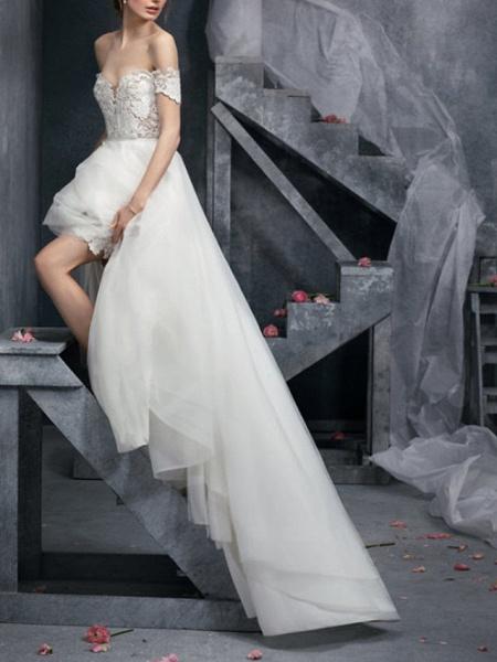 A-Line Wedding Dresses Off Shoulder Sweep \ Brush Train Polyester Short Sleeve Formal Plus Size_2