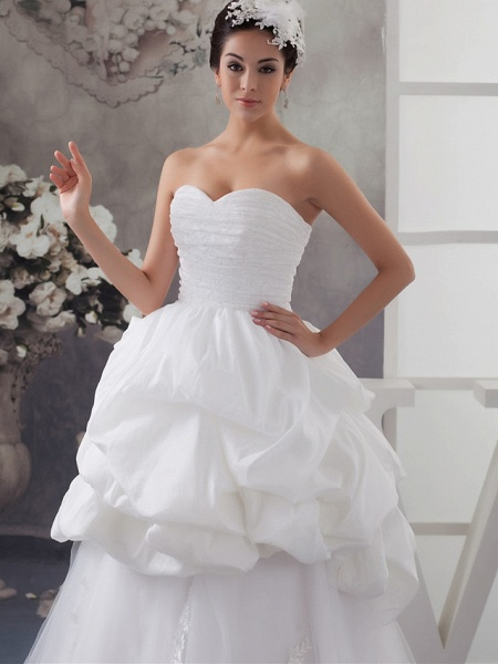 A-Line Sweetheart Neckline Floor Length Lace Satin Tulle Strapless Wedding Dresses_4