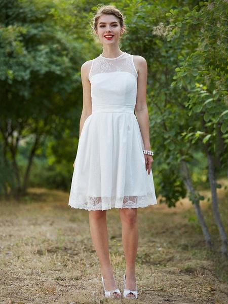A-Line Wedding Dresses Jewel Neck Knee Length Lace Sleeveless Little White Dress_4